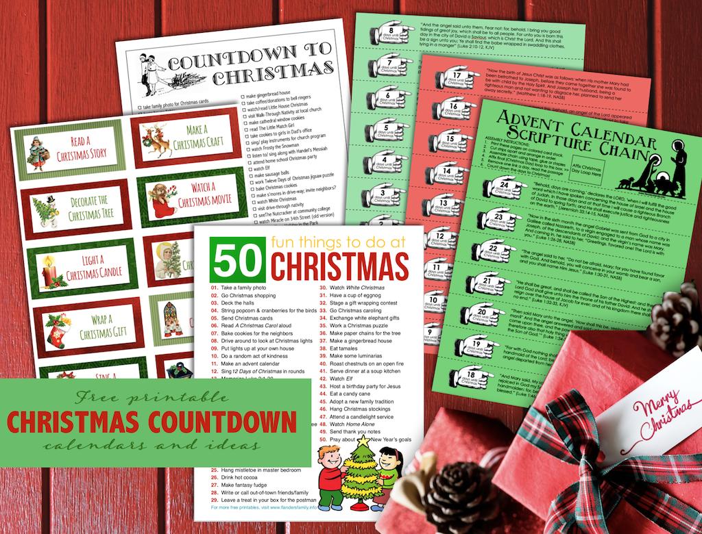 Free Printable Christmas Countdown Calendars