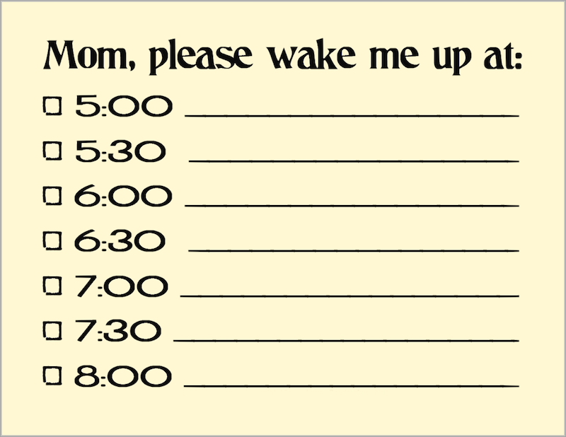 Free Printable Wake Up Reminder