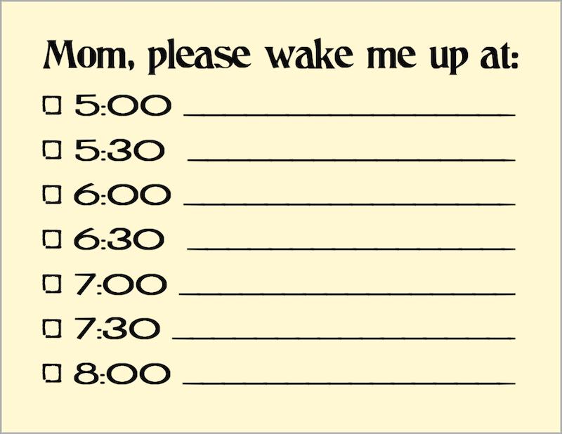 Free Printable Wake Up Reminder