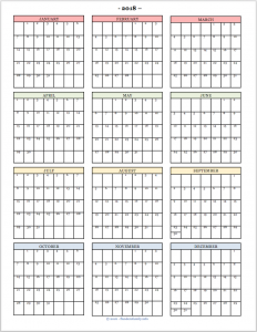 Free Printable 2018 Year-at-a-Glance Calendar