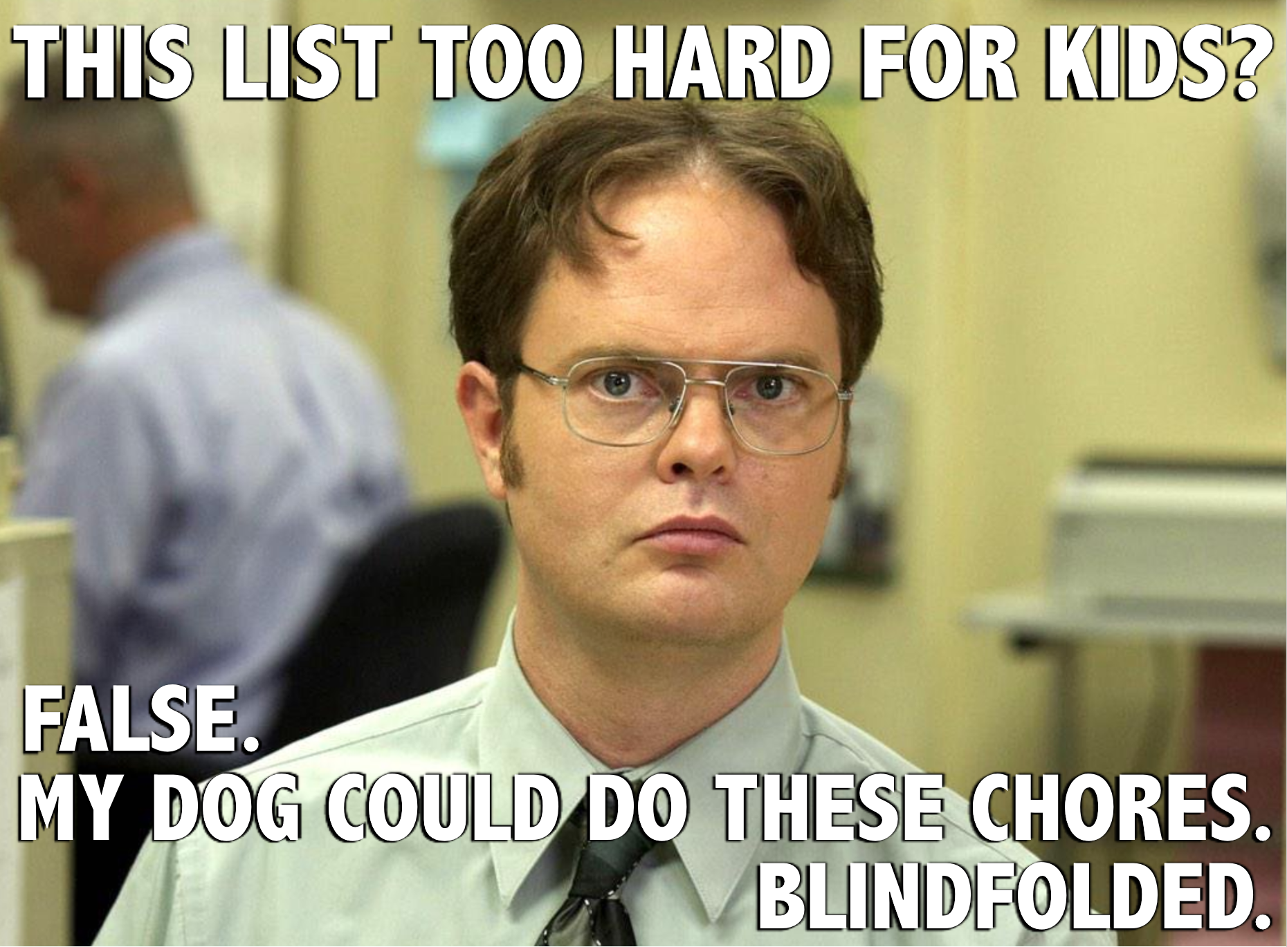 Dwight Schrute on Children's Chores