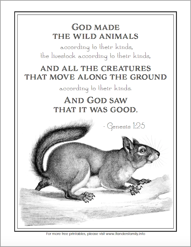 God Made the Wild Animals (Coloring Page)