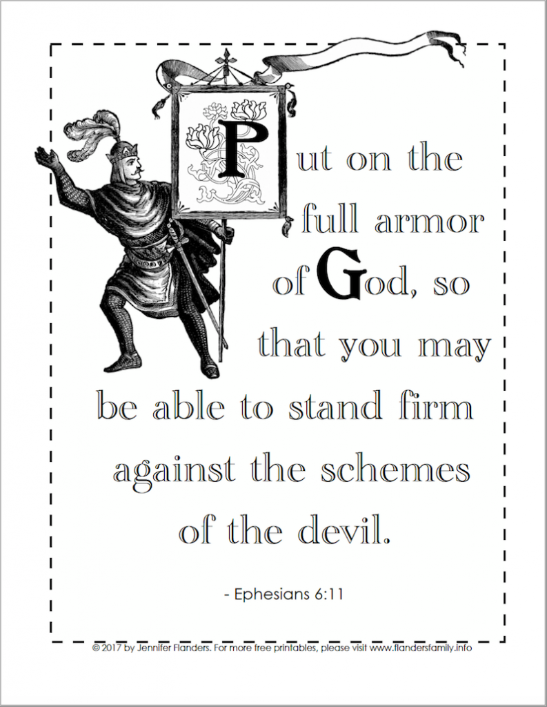 Put on the Full Armor of God (Coloring Page) - Flanders Family Homelife