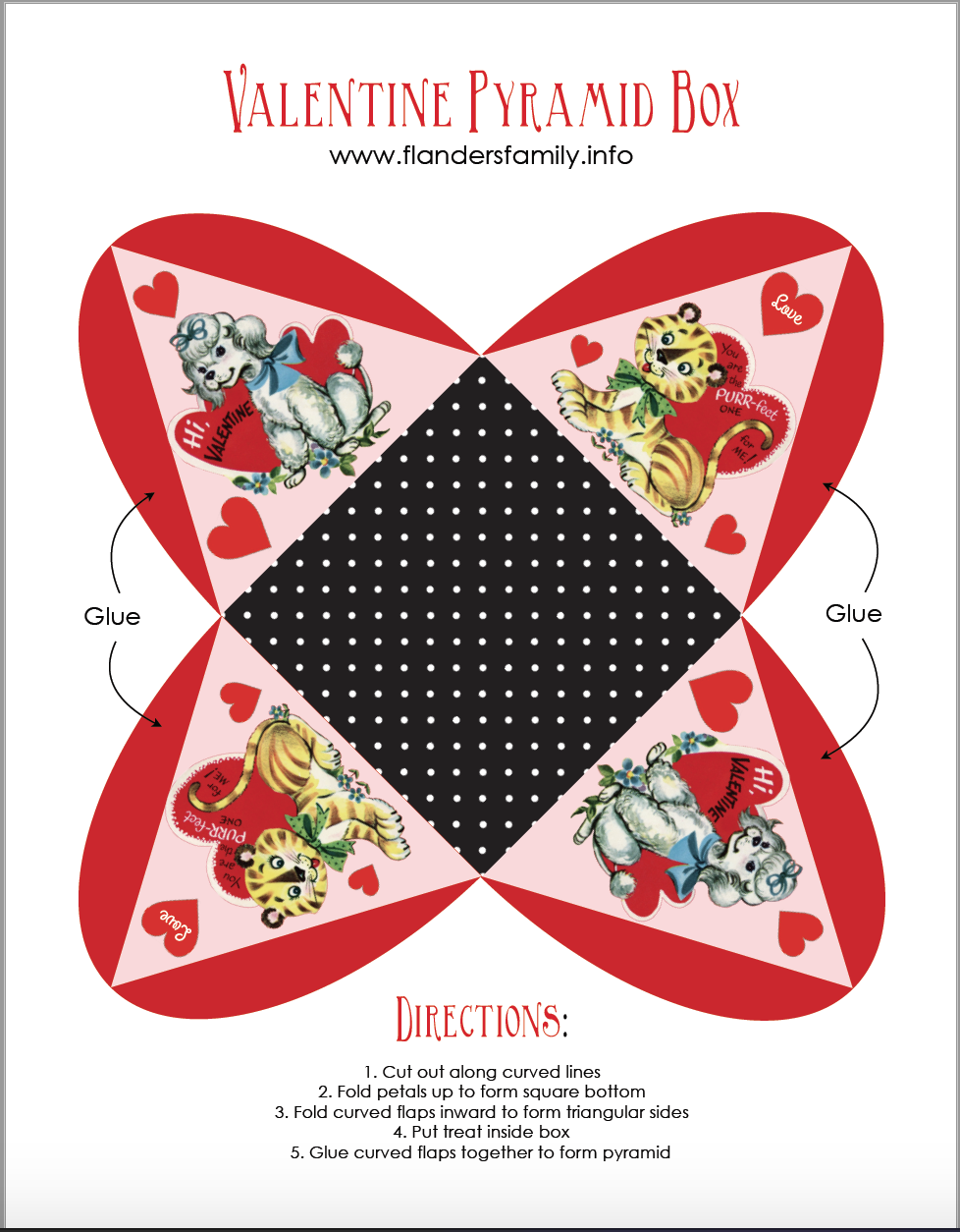 Free printable pyramid boxes for Valentine's Day