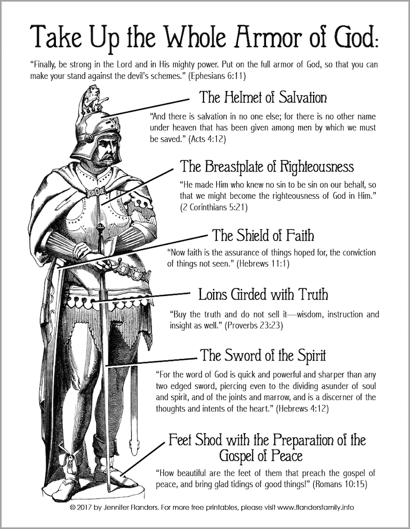Armor of God Coloring Page - Flanders Family Homelife