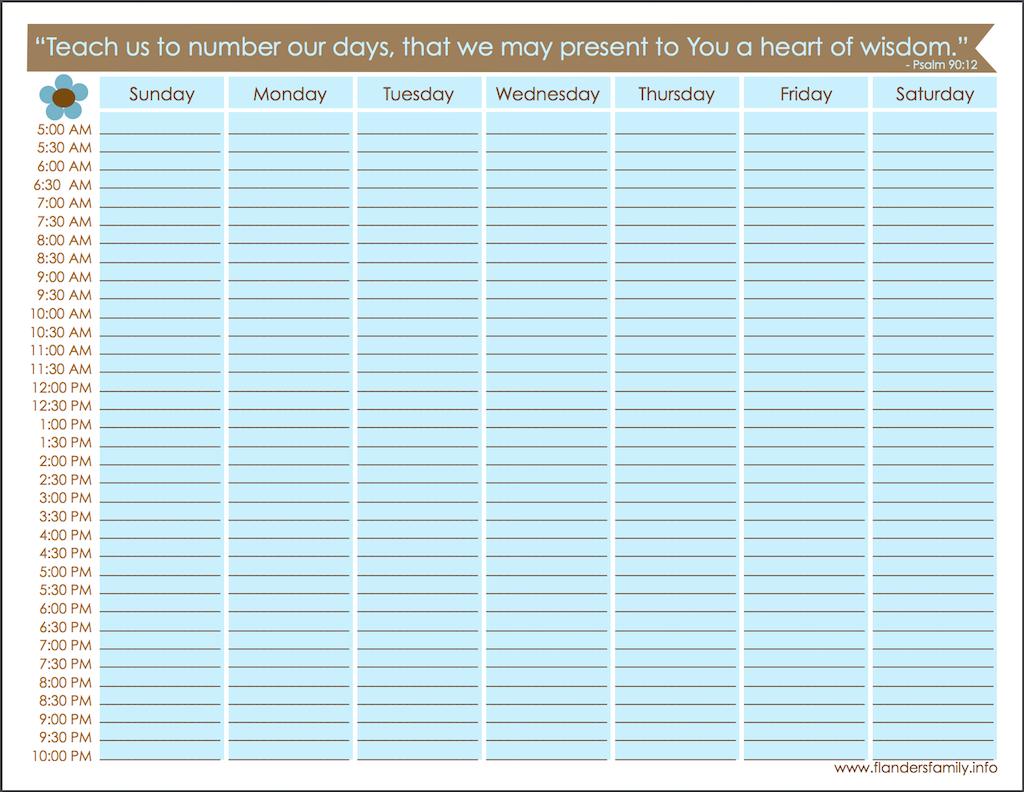 Mailbag: Free Weekly Schedule Printable - Flanders Family Homelife