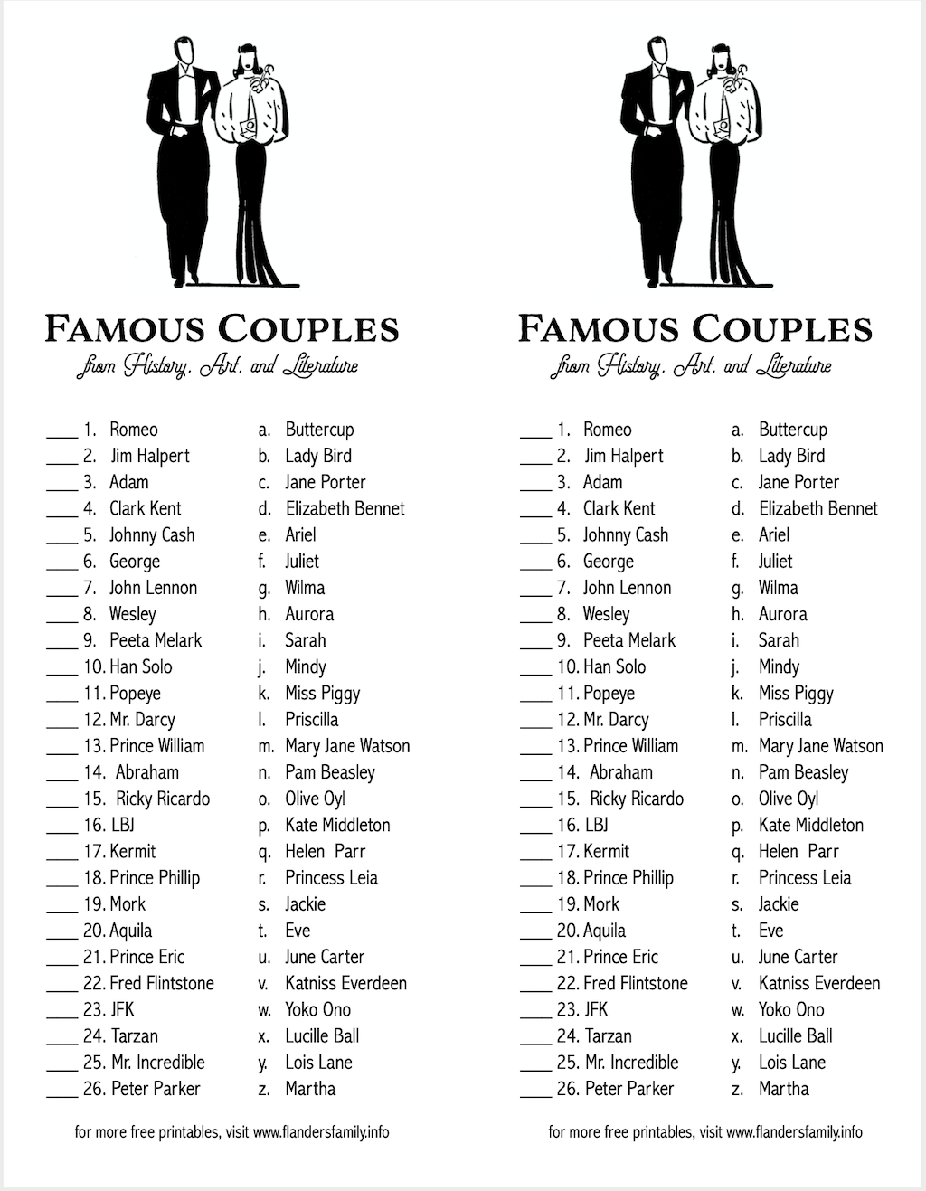 Famous Couples Matching Quiz