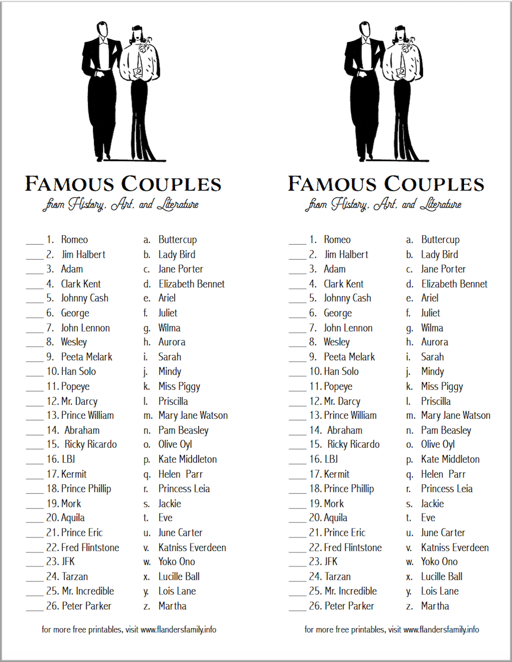 Free Printable Game for Bridal Showers or Valentine Parties