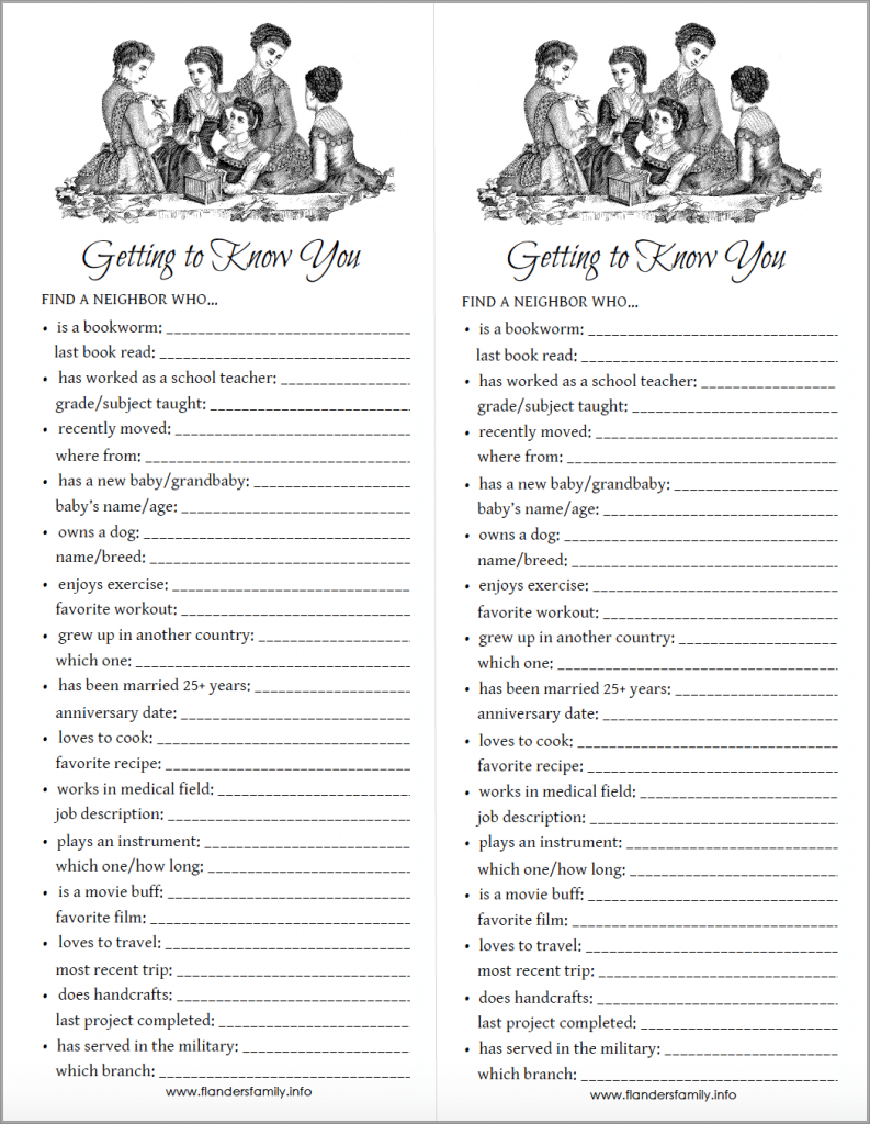 Getting to Know You Printable