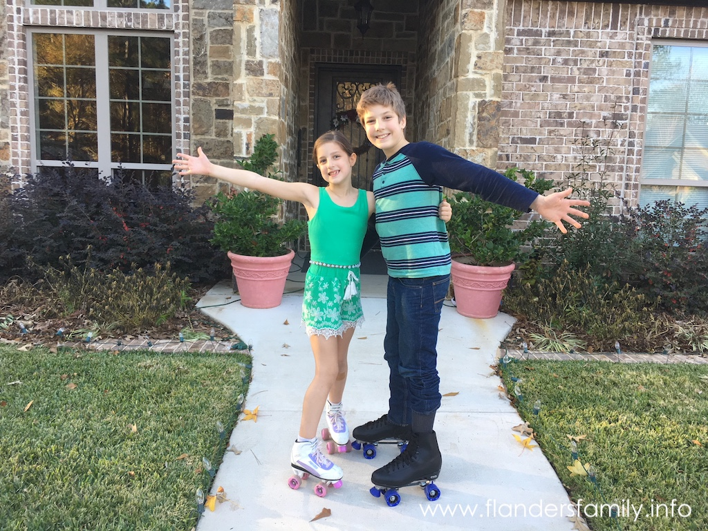 Gabriel and Abigail on their new roller skates