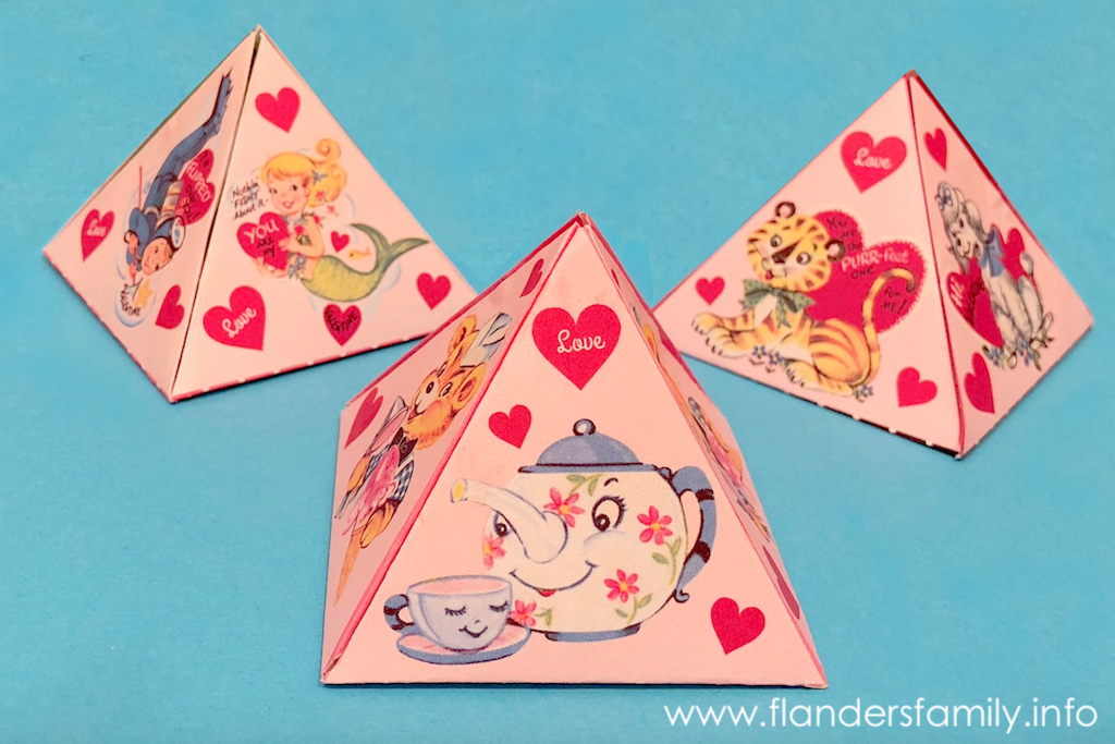 Valentine Pyramid Boxes (Free Printables) - Flanders Family Homelife