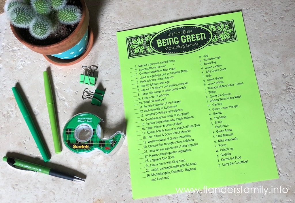 Free Printable Matching Game for St. Patrick's Day - Not Easy Being Green