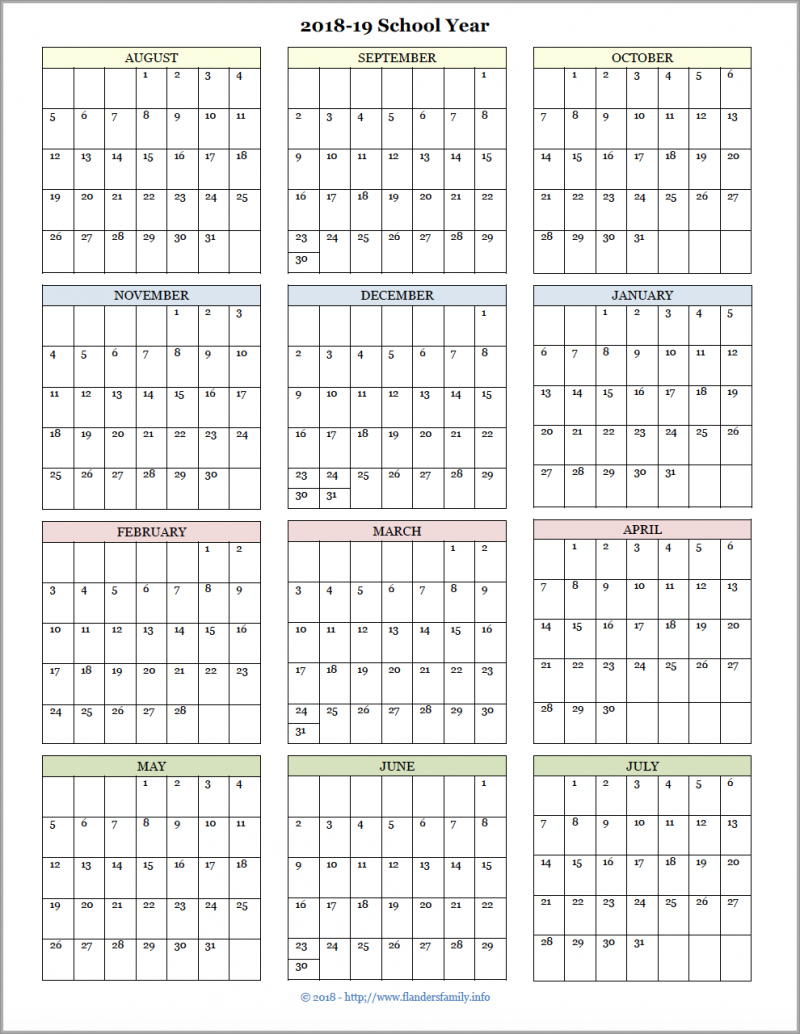 picture relating to Printable School Year Calendar named Instructional Calendars for 2018-19 Higher education 12 months (No cost Printable