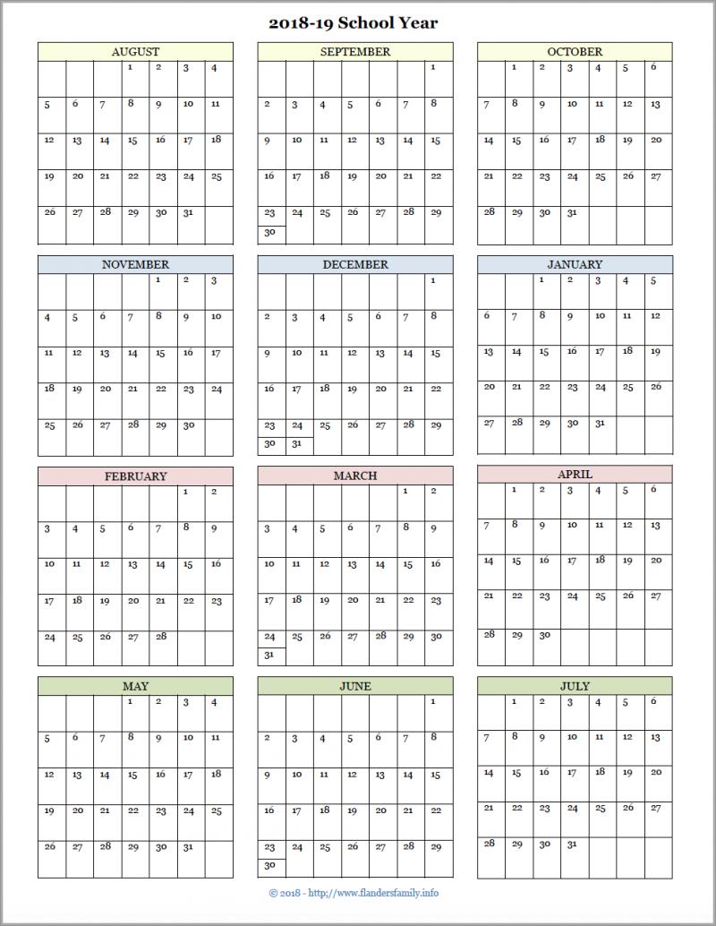 2018-19 Academic Calendar - August Start