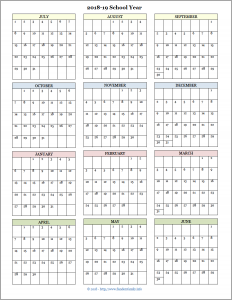 2018-19 Academic Calendar - July Start