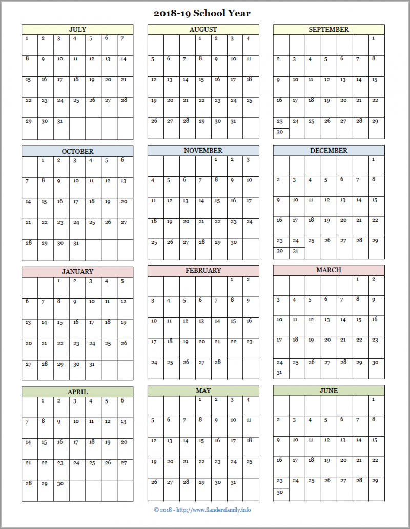 photograph relating to Printable Year Calendar identified as Instructional Calendars for 2018-19 University Yr (Totally free Printable