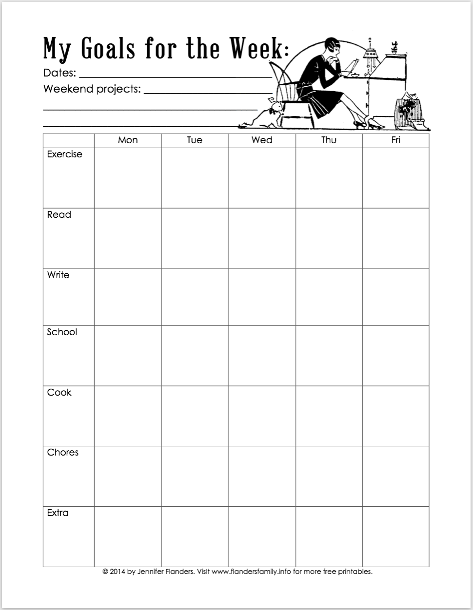 My Goals for the Week - Free Printable