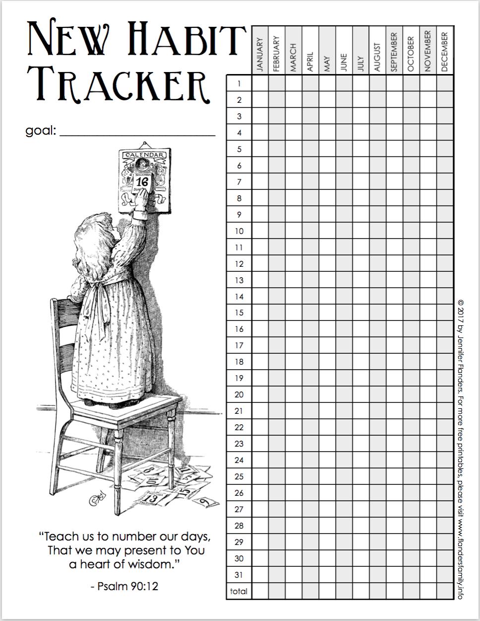 New Habit Tracking Chart - Free Printable
