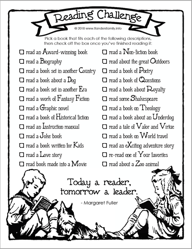 Free Printable Reading Challenge for all ages