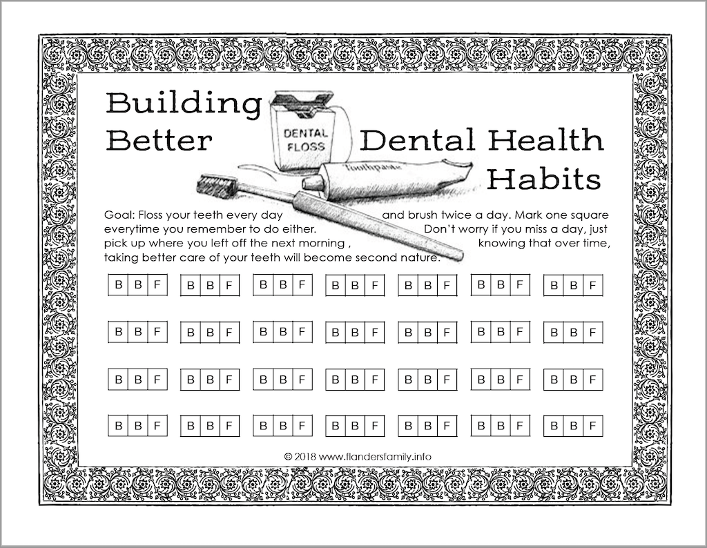 Free Dental Health Habits Chart