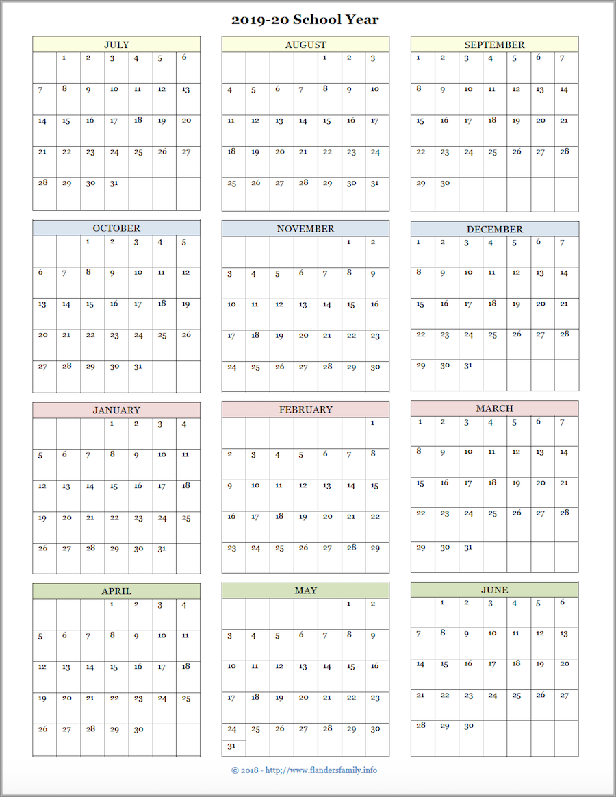 picture regarding Printable School Year Calendar named Mailbag Monday: Added Educational Calendars (2019-2020