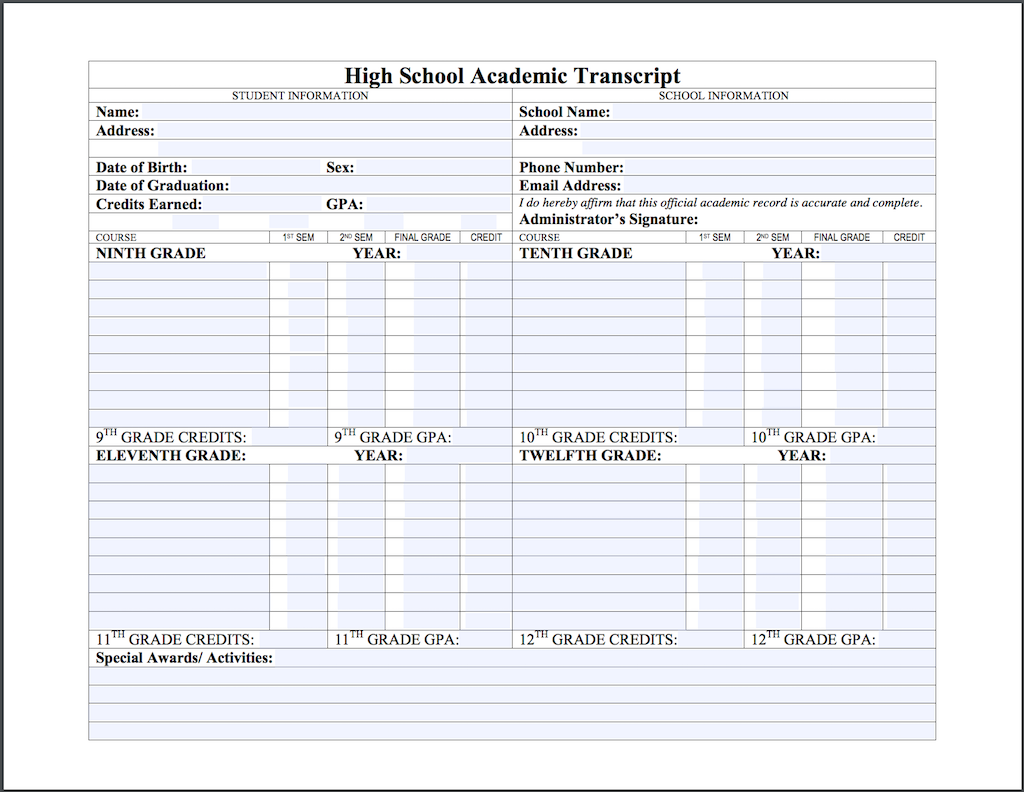 High School Transcript Template - Fully Editable PDF