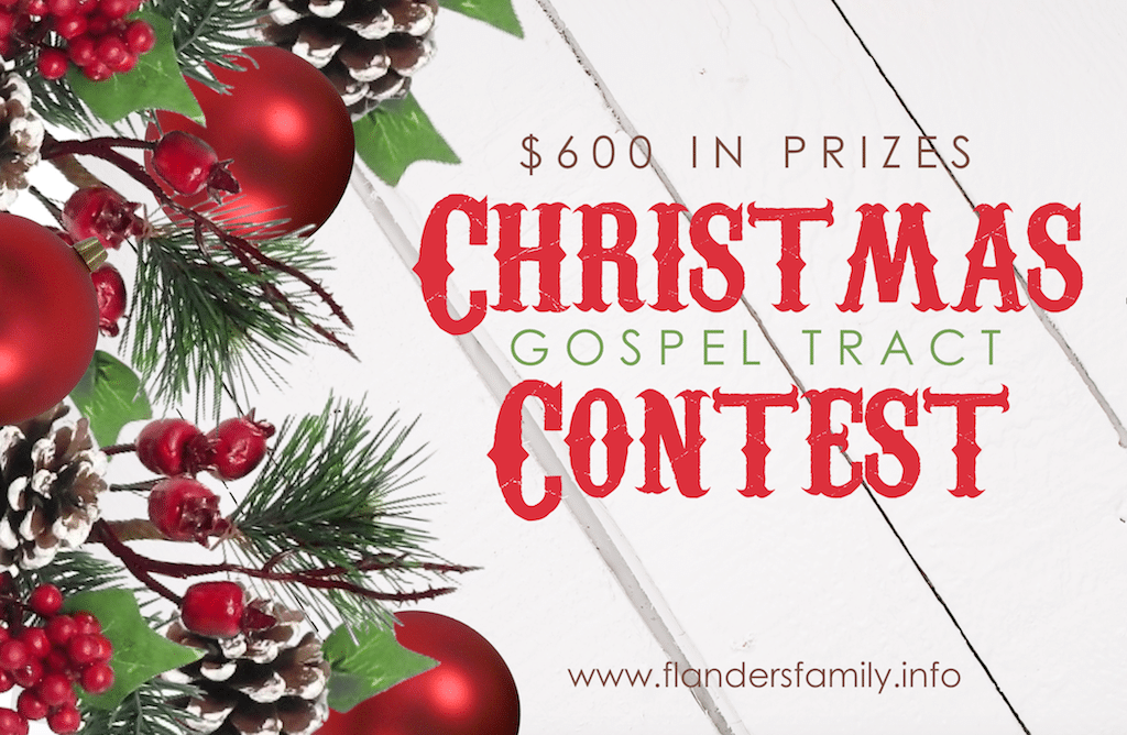 Christmas Gospel Tracts.Christmas Gospel Tract Contest Flanders Family Homelife