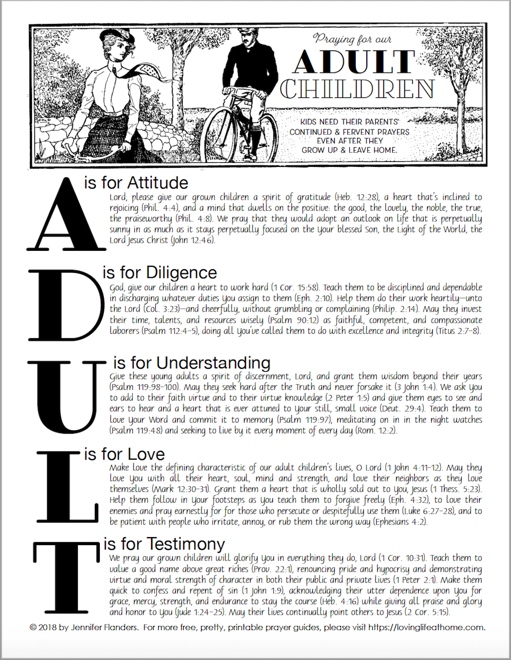 Praying for Adult Children - free printable