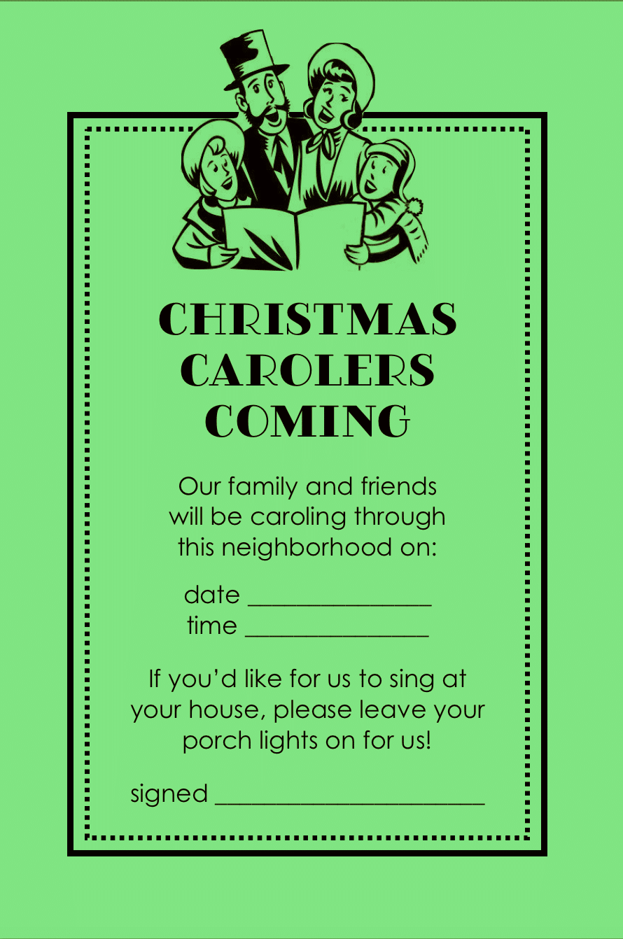 Christmas Caroling Announcement