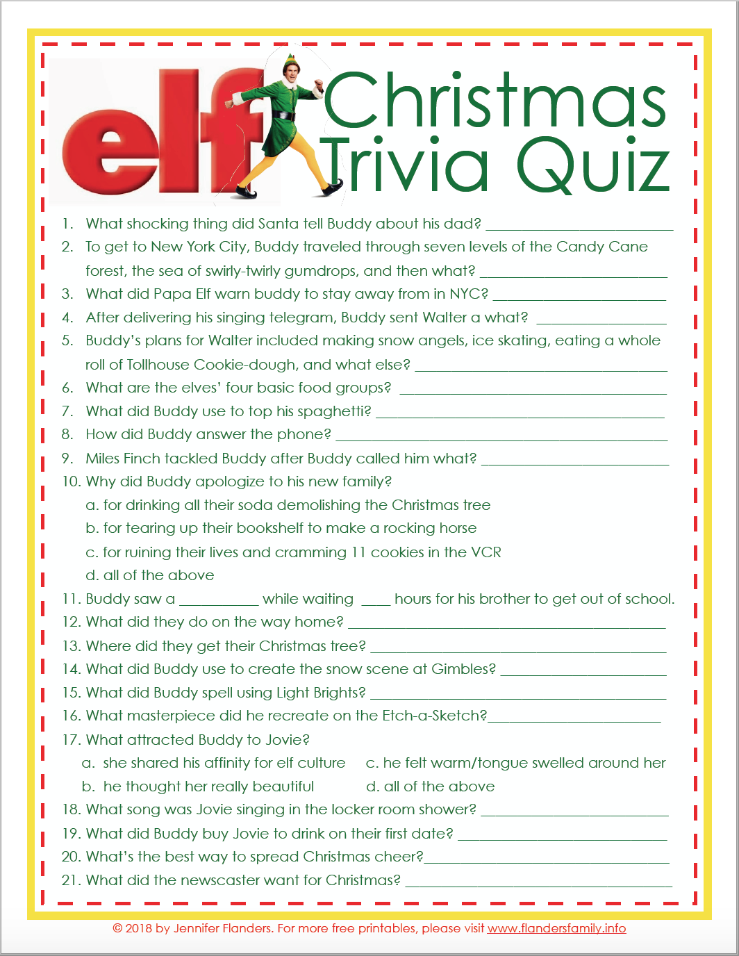 photograph relating to Christmas Trivia Game Printable identify Elf Xmas Trivia Match (Absolutely free Printable) - Flanders Household