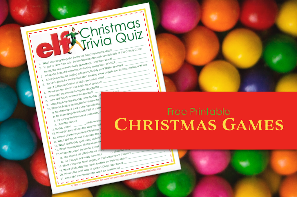 photograph about Christmas Trivia Game Printable named Elf Xmas Trivia Match (Totally free Printable) - Flanders Household