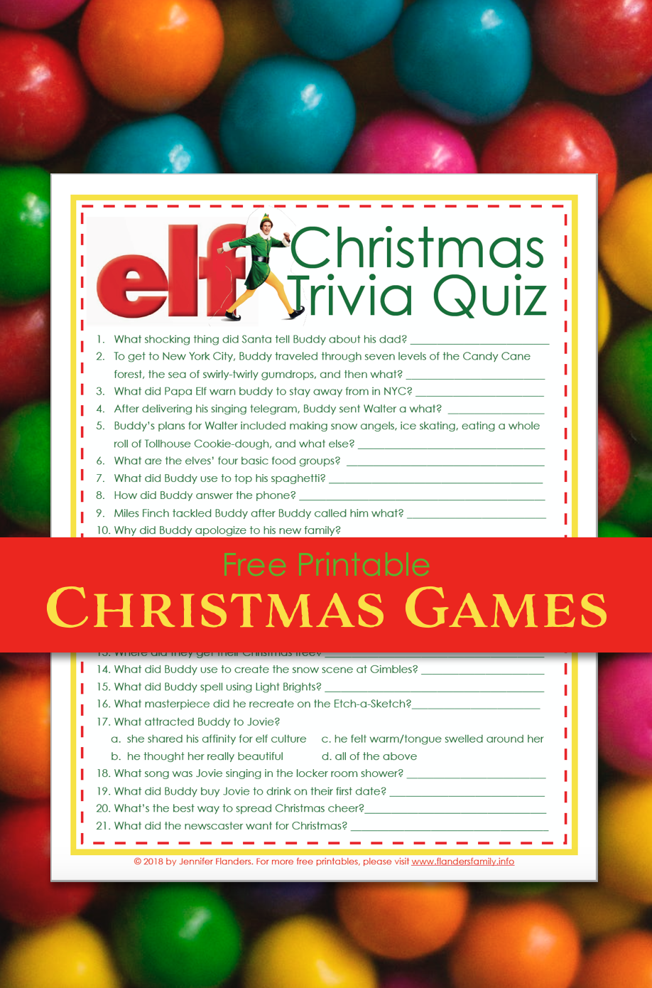 picture about Christmas Trivia Game Printable named Elf Xmas Trivia Activity (No cost Printable) - Flanders Loved ones