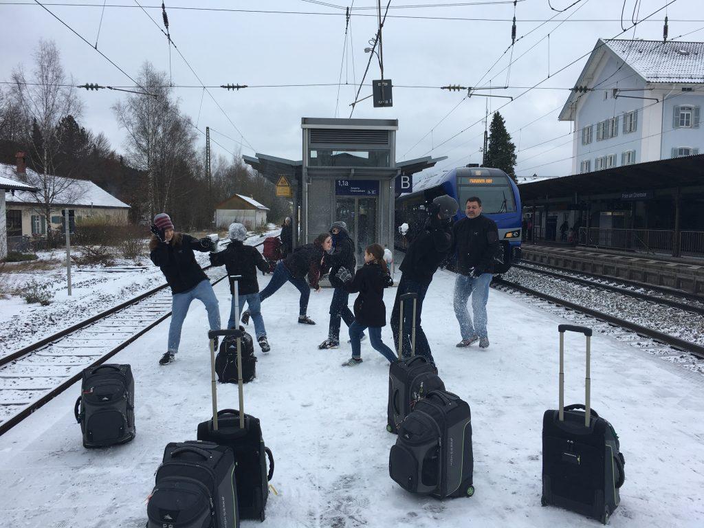 on the train platform