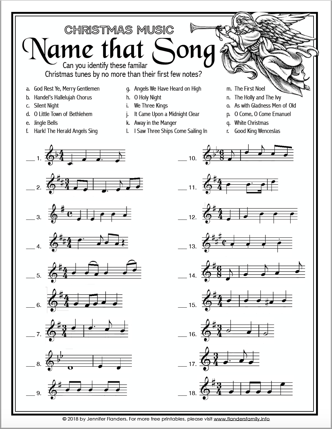 Name that Song - Fill in the Blank - Free Printable Christmas Game