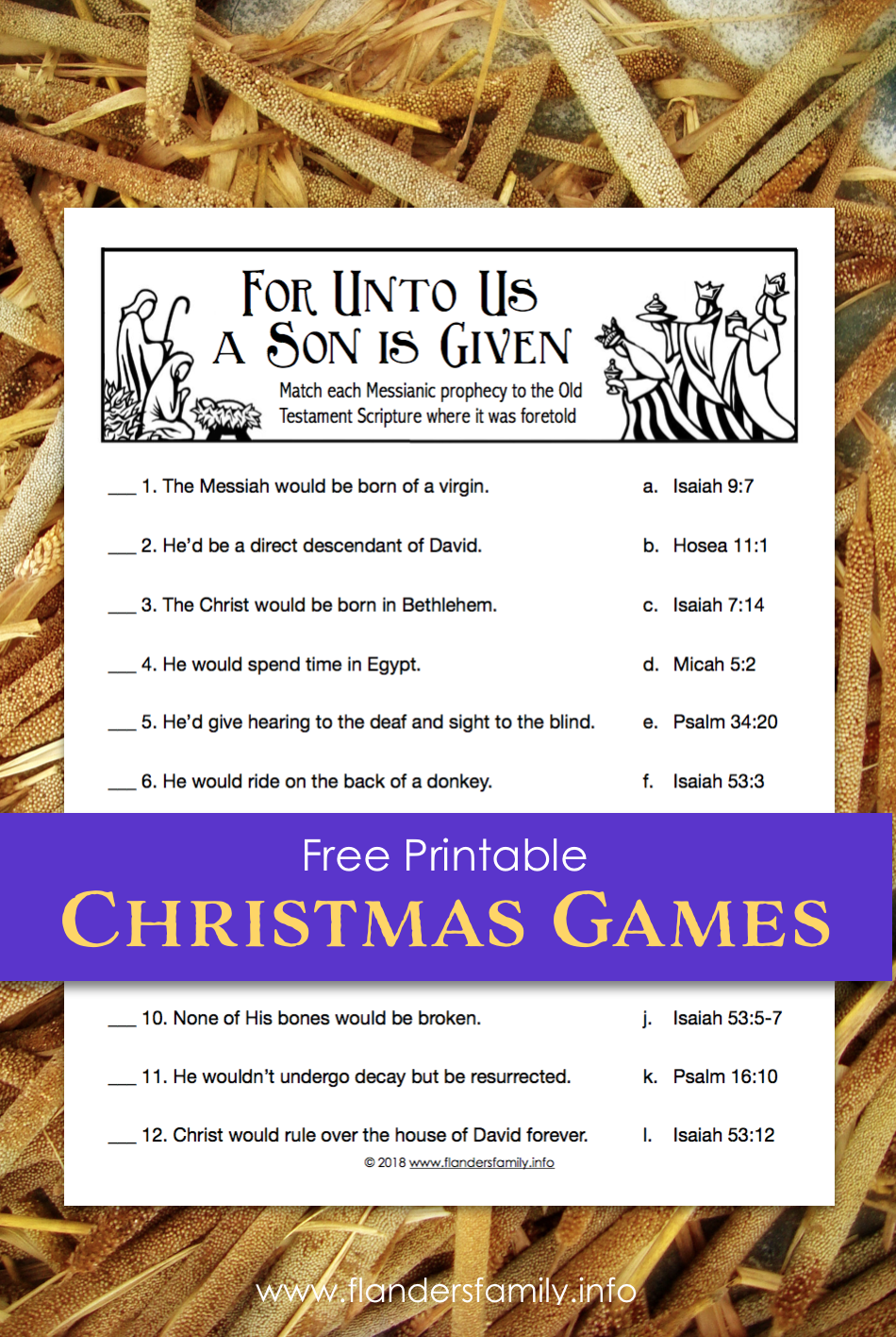 For Unto Us a Child is Born | Free Printable Christmas Quiz