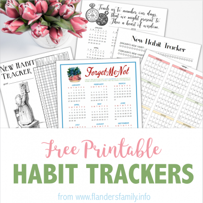 2019 Habit Trackers and Year-at-a-Glance Calendar