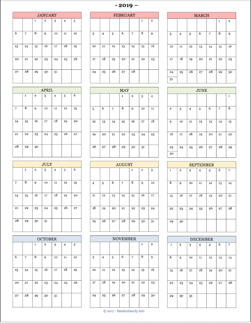 2019 Year-at-a-Glance Calendar