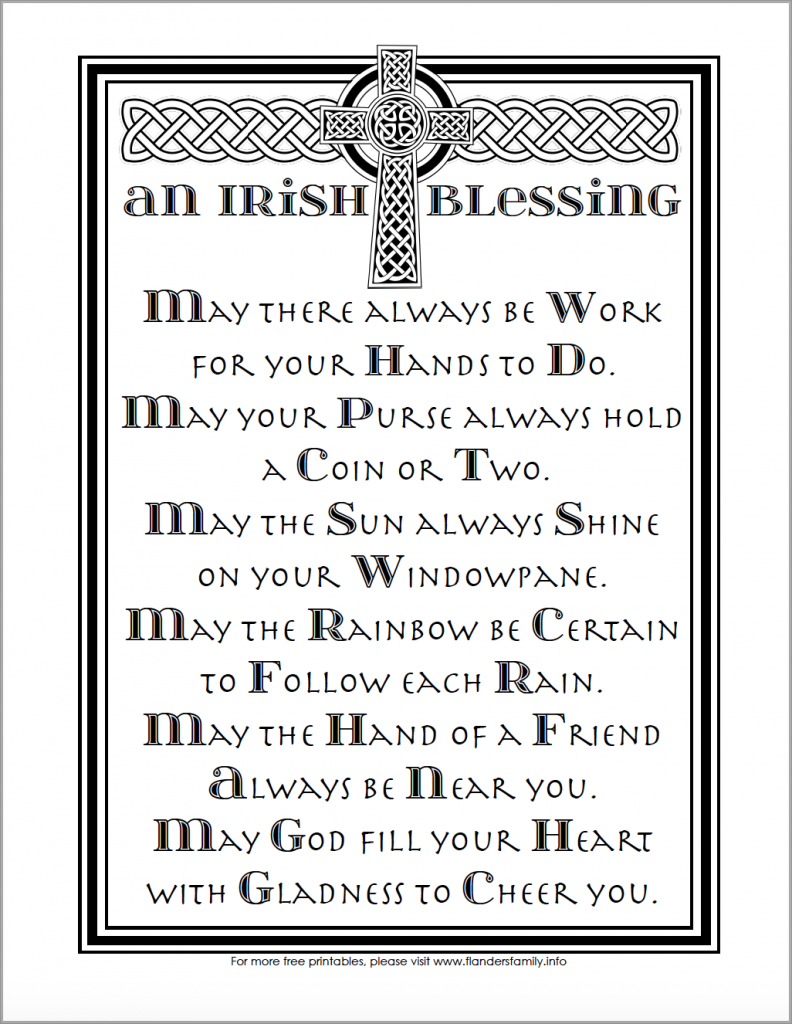 An Irish Blessing - Free Printable Coloring Page