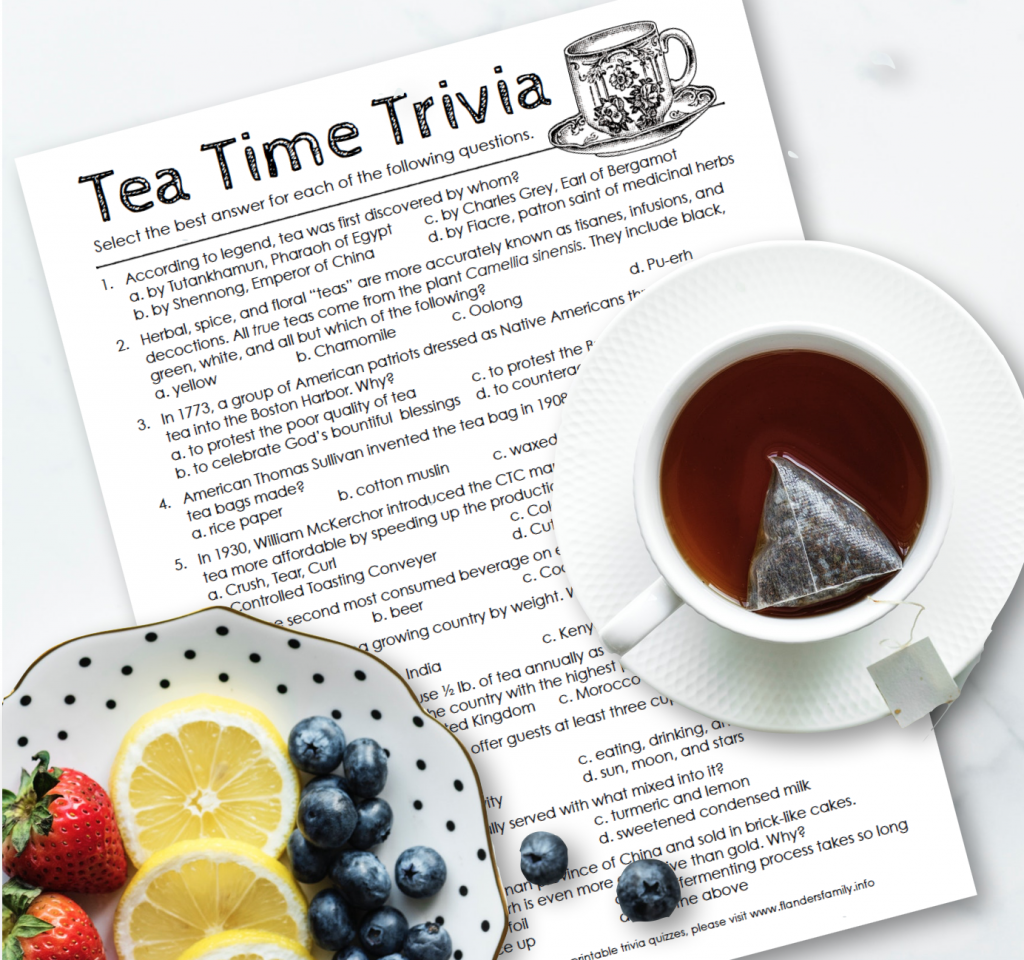 Books and Tea: Free Printable Tea Time Trivia Quiz