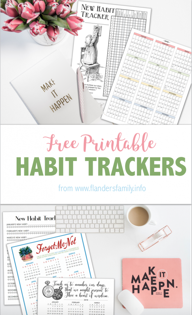 FREE Year-at-a-Glance calendars and habit trackers from flandersfamily.info #goals #freeprintable #newyearsresolutions
