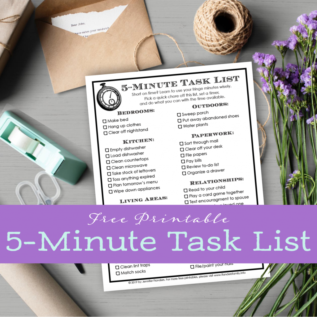 Fre Printable: 5-Minute Tasks