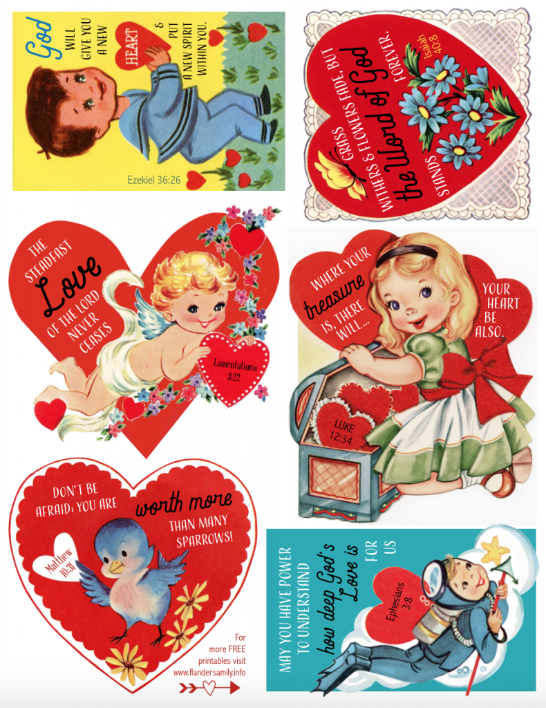 Retro Valentines with Bible verses