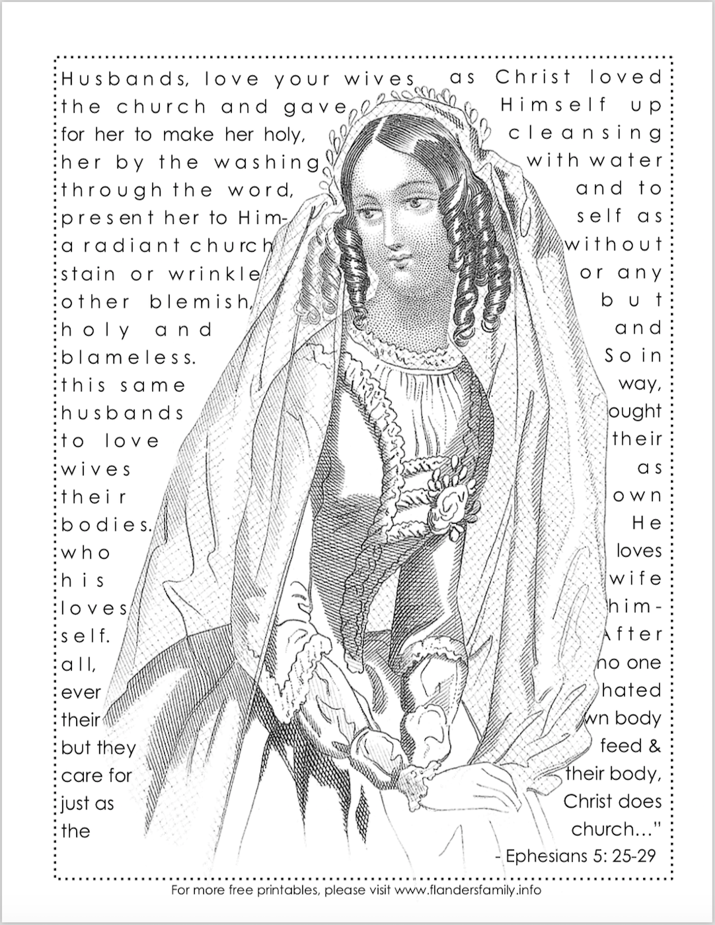 Bride Of Christ Free Coloring Page Flanders Family Homelife