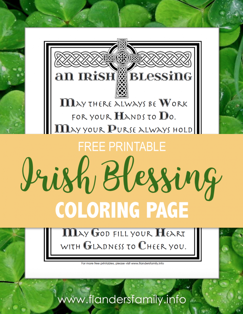 Irish Blessing - Free Coloring Page for St. Patrick's Day