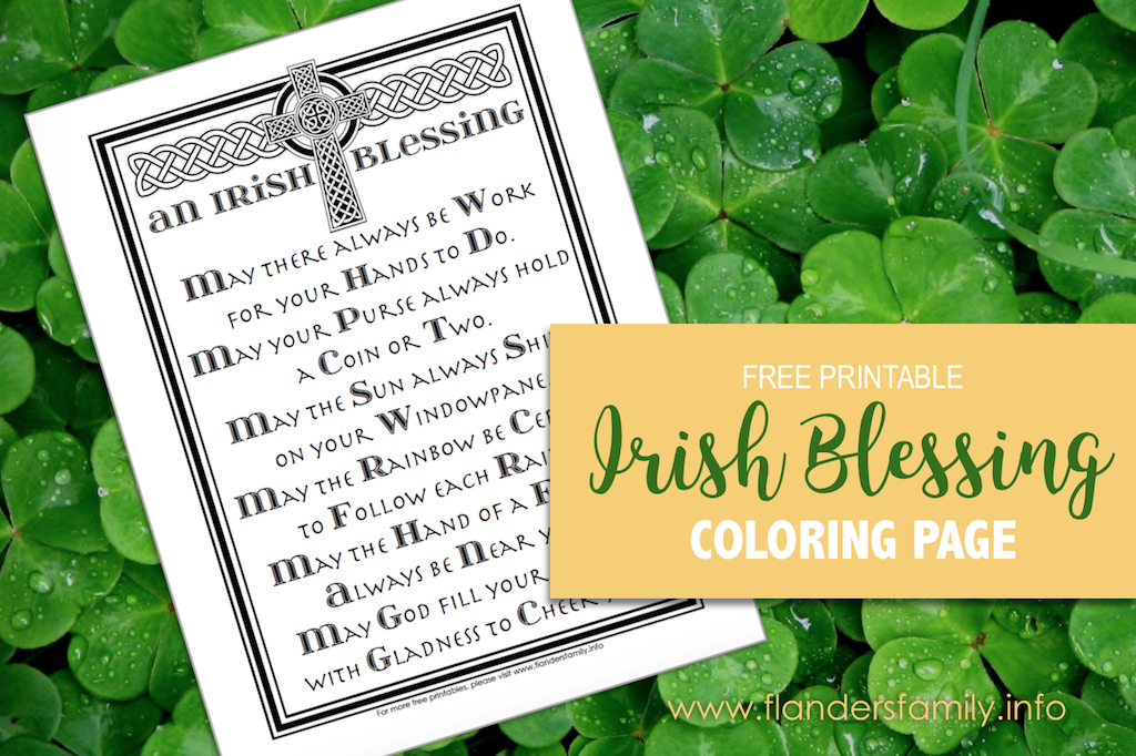 photograph relating to Printable Irish Blessing titled An Irish Blessing (Absolutely free Coloring Website page) - Flanders Loved ones