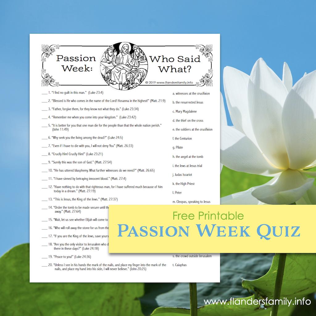Free Passion Week Quiz