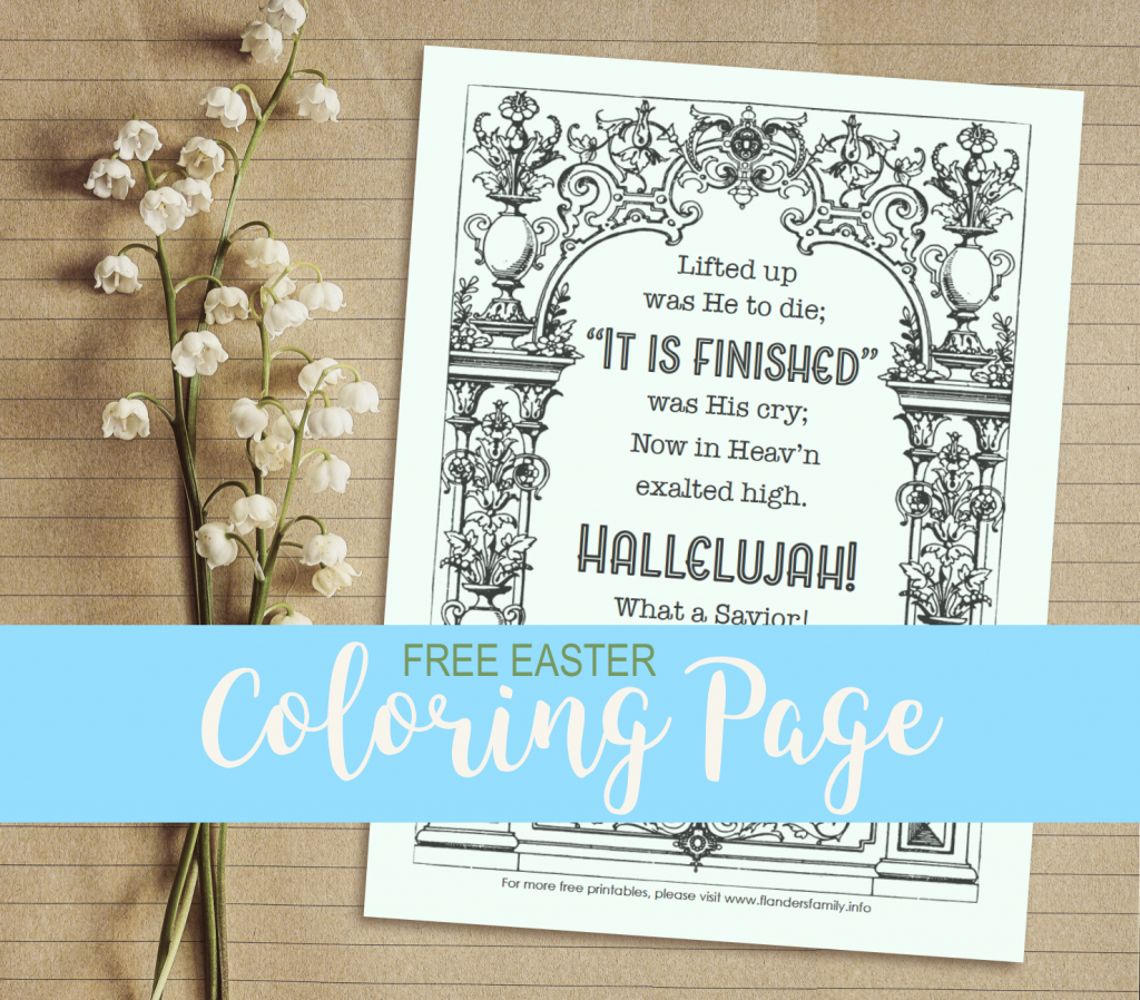 Free Coloring Page for Easter: It is Finished!