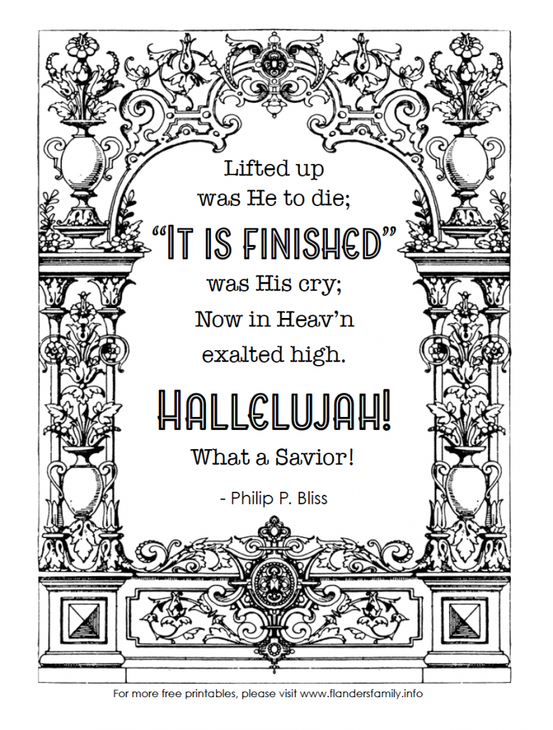 It Is Finished - Free Coloring Page Printable for Easter