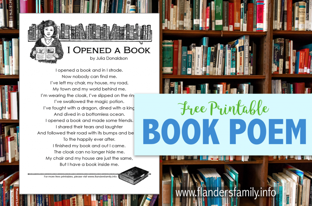 I Opened a Book Poem - Free Printable