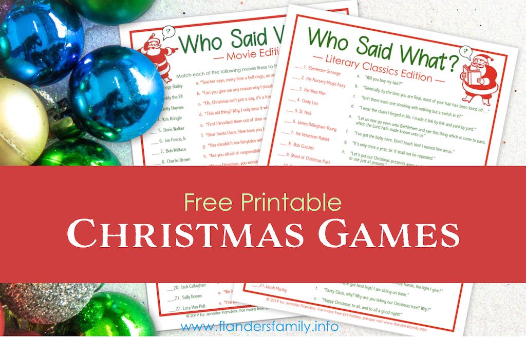 Free Printable Christmas Games